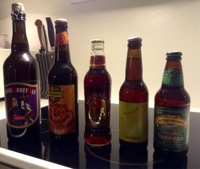 Brygværket – Bamset Brown Ale / Belhaven – Wee Heavy / Mikkeller – Magnum / Ørbæk – Fionia AbbeyAle